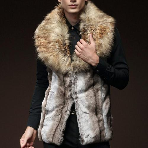 Mens Slim Fit Faux Fur Hook Vest
