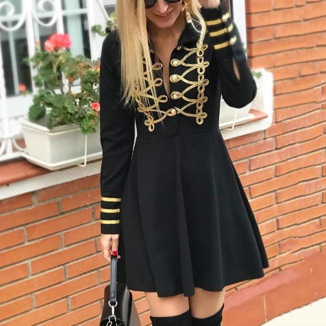 Fashion Lapel Long Sleeve Splicing Dress