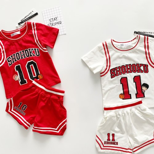 Tonytaobaby Summer Clothes New Cartoon Boys and Girls Basketball Cotton Sweat-absorbent Sports Suit