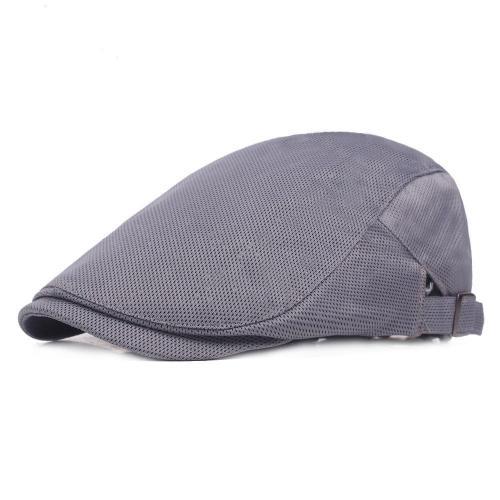 Men's Casual Beret Cap Breathable Mesh Cap Adjustable Pure Color Cap
