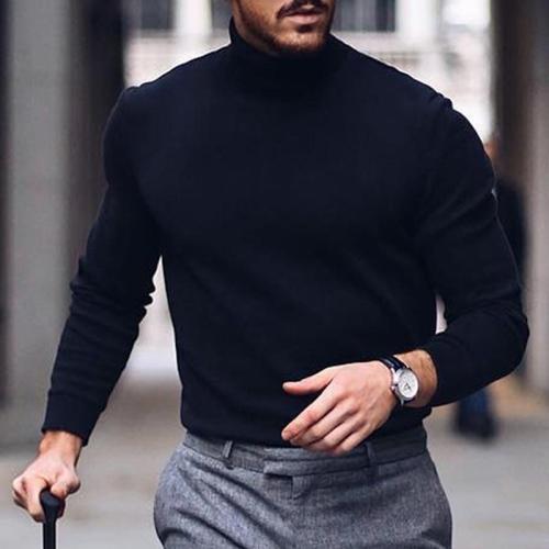Mens Solid Plain Choker Sweater
