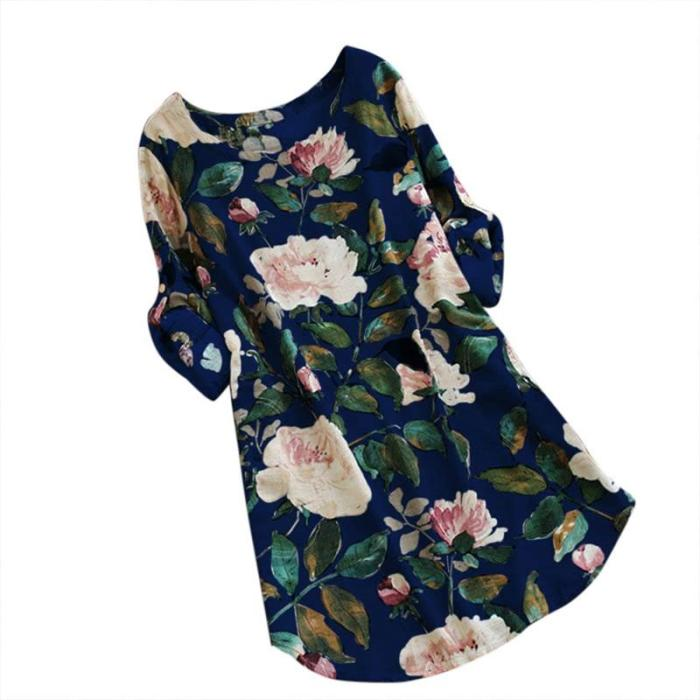 2020 New Spring Summer Women Loose Floral Print Dress Ladies Mini Dress Summer Casual Party Dresses Long Sleeve Dress Plus Size