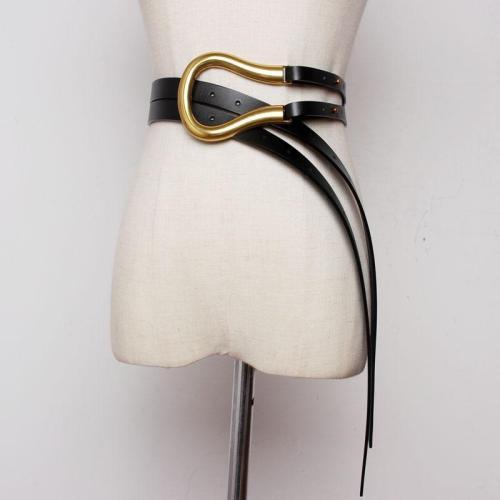 WKOUD EAM 2020 New Vintage Personality Metal Arc Horseshoe Buckle Leather Corset Belt Female Casual Classical Waistband PE065