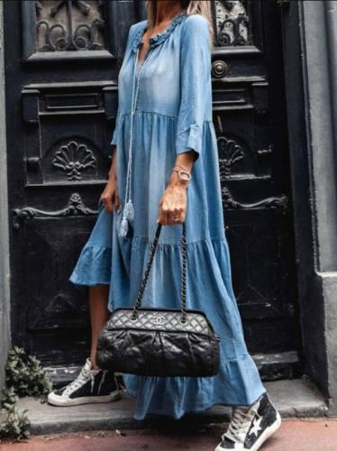 Denim Dress Women Loose Cowboy Three Quarter Sleeve Long Dresses Robe Ruffle V Neck Elegant Party Maxi  Casual Dress