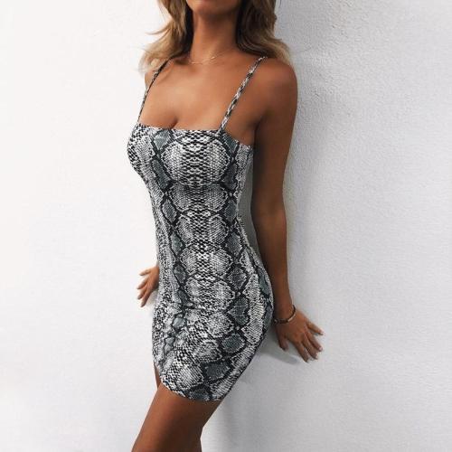 2020 New Elegant Women's Bodycon Slim Pencil Dress snake skin dress autumn women sexy Backless Low Cut party mini dresses