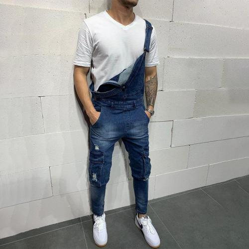 Knee Pocket Ripped Hole Overall