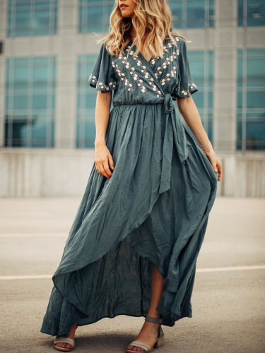 Surplice Neck Blue Asymmetric Embroidered Maxi Dress