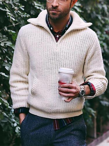Men's Solid Color Knit Sweater