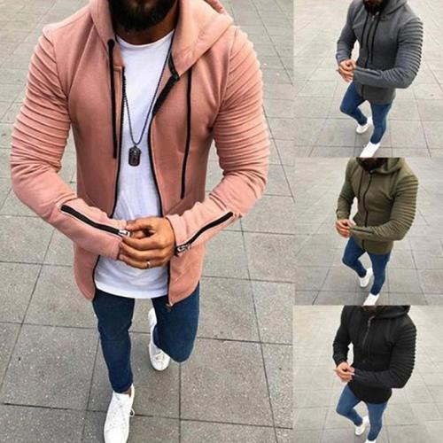 Pleated Long Sleeve Hooded Men's Hoodie