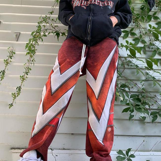 Stylish casual red and white striped mens pants TT010