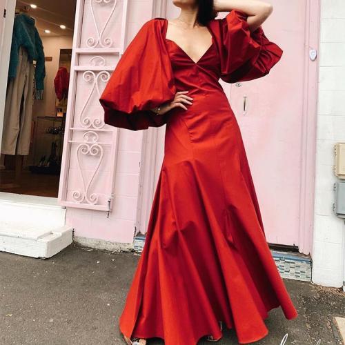 Fashion Elegant Deep V Neck Puff Sleeves Maxi Dress