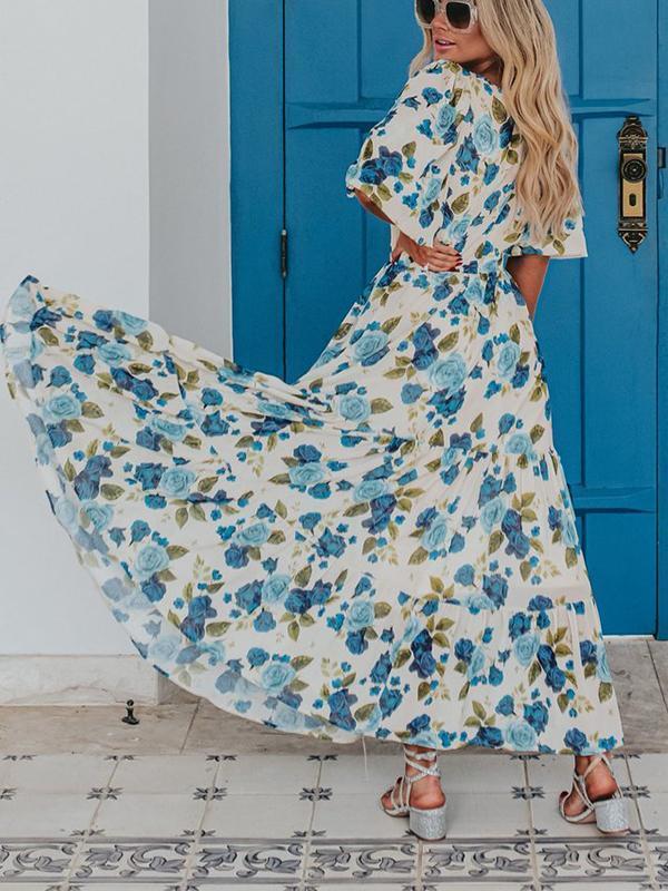 Square Collar Puff Sleeve Layered Dress