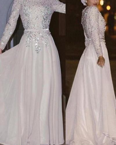 Round Neck Long Sleeve Sequined Evening Dress