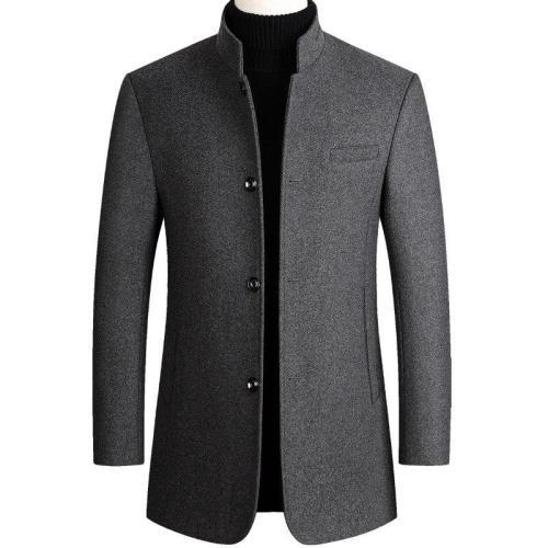 Autumn Winter Mens Woolen Coat Cotton Thick Wool Coat Large Size Casual Long Blend Coat Long Sleeve Khaki Overcoat Male Tops 3xl