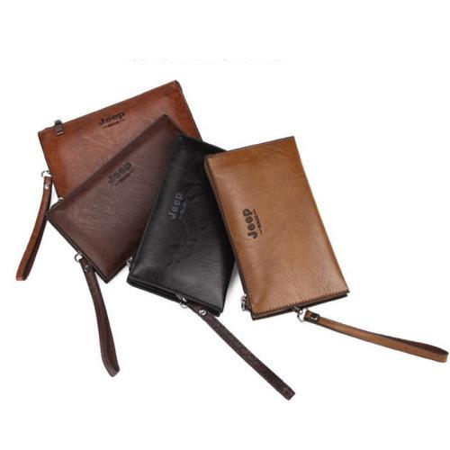 Long New Wave Men's Clutch Bag Soft Leather Zipper Youth Clutch Bag