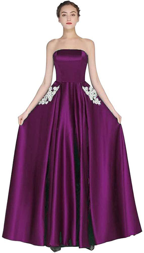 zeelink Women Elegant White lace Flower Applique Bridesmaid Formal Dress Strapless Long Prom Evening Gown Party Dress