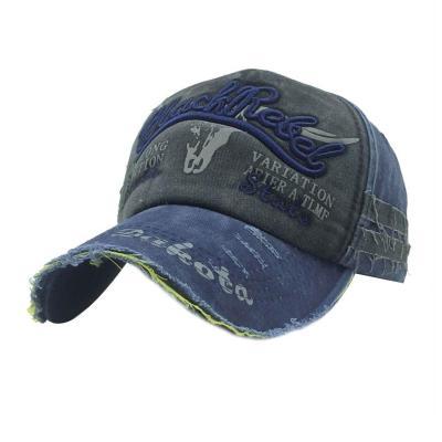 Retro Canvas Denim Letters Patchwork Vintage Baseball  Autumn Hip Hop Hats Winter Hat Cap
