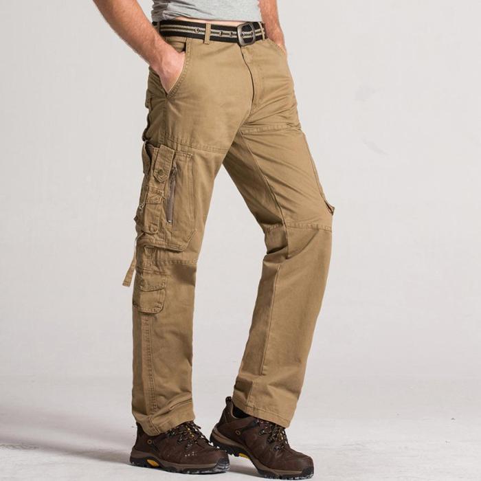 Fashion Plain Straight Leg Multiple Packets Pants