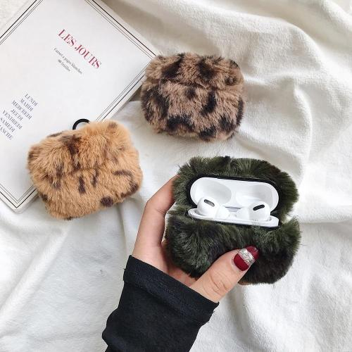 Leopard Plush AirPods Pro Case Winter Warm Shockproof Cover