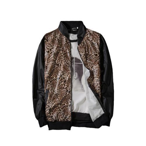 Men's Leopard Print Stand Collar Contrast Coat