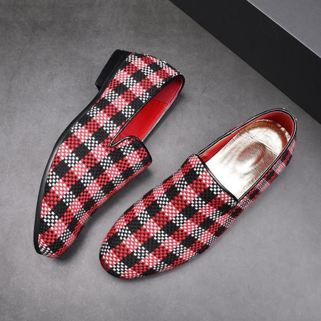 Plaid Pattern Leather Shoes
