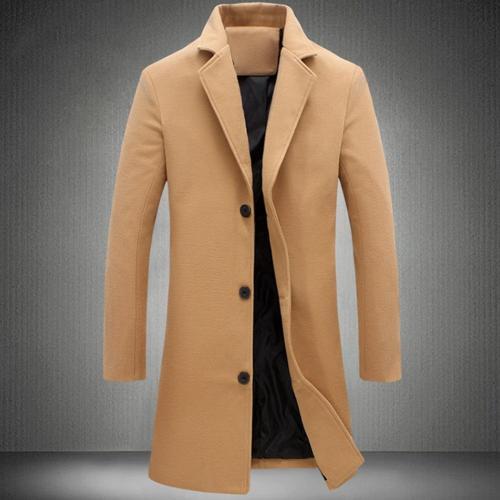 Men Winter Black Grey Coat Lapel Collar Wool & Blend Single-breasted Pockets Plus Size Trench Coat manteau homme пальто мужское