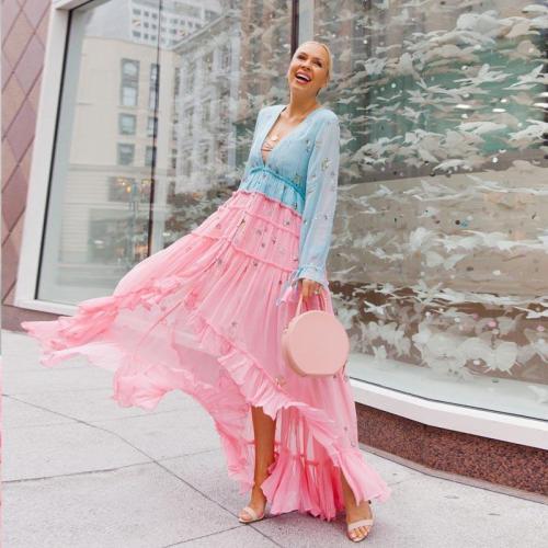 Deep V Neck Long Sleeve Patchwork Maxi Dresses Ruffles Irregular Hem Summer Dress Sexy Ladies Dresses 2020 Maxi Dresses