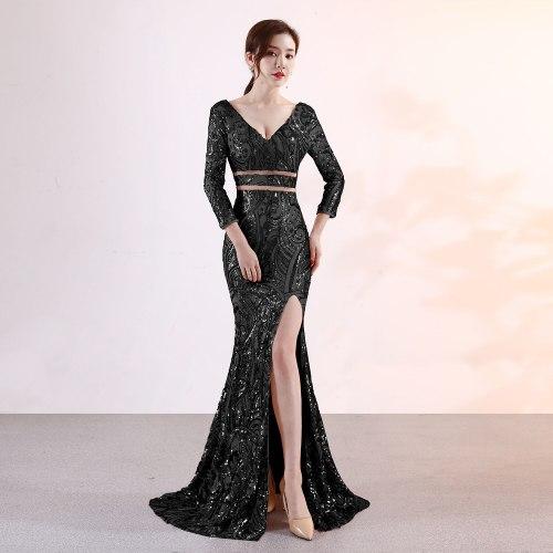 noble embroidery sequins Evening Dress Elegant Formal Party evening Dresses  Open fork Long evening gown vestido de festa