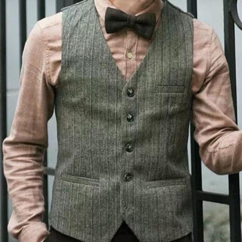 Mens classic retro striped button vest