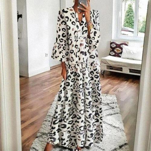 Holiday Outing Travel Long Dress Women Leopard Print Loose Flare Sleeve Casual Dress