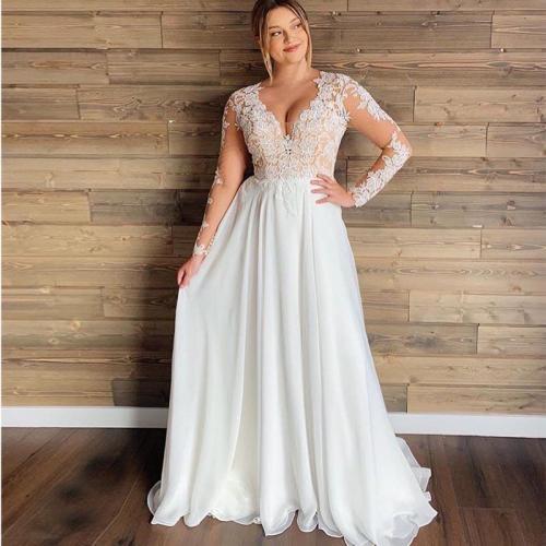 Plus Size Wedding Dress 2020 Long Sleeves Chiffon Appliques Beach Bridal Dress Short Sleeves Cheap High quality Wedding Gowns