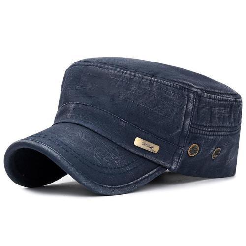 Men Washed Army Cap Casual Adjustable Flat Cap