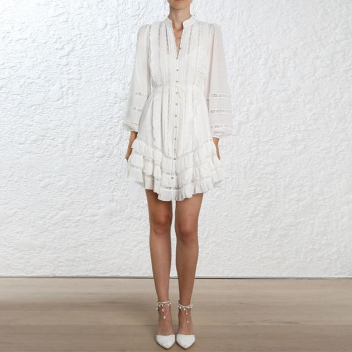 Fashion Lantern Sleeve Hollow Out Ruffles Lace Up Casual Dress
