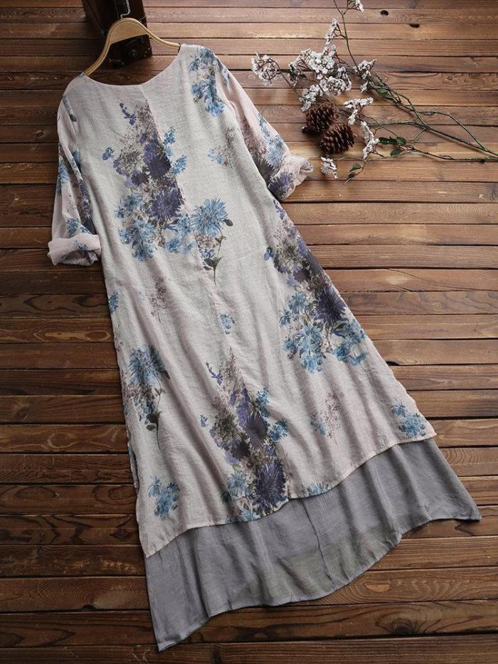 Vintage Floral Print Layers Long Sleeve Plus Size Maxi Dress