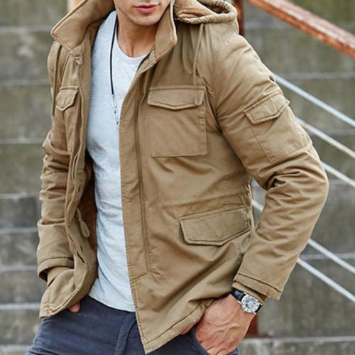 Mens Solid Color Pocket Hooded Jacket