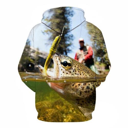 2019 new summer outfit fish-print hoodie 3D men's and women's sport suit sweatshirt fish-hoodie long-sleeve suit