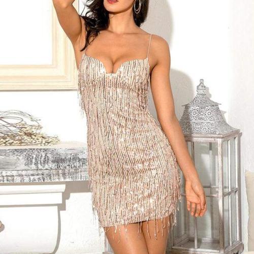 Fashion solid color sling sequins dress