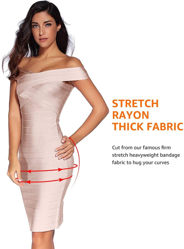 Meilun Women's Rayon Strap V-Neck Bandage Bodycon Party Dress