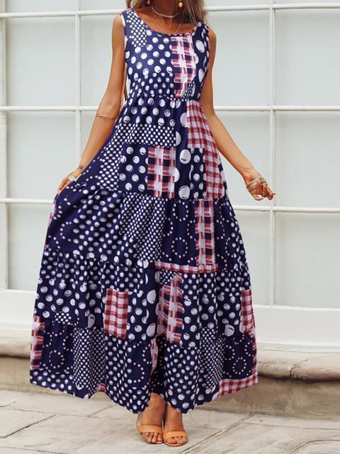 Vintage Print Patchwork Casual  Maxi Dress
