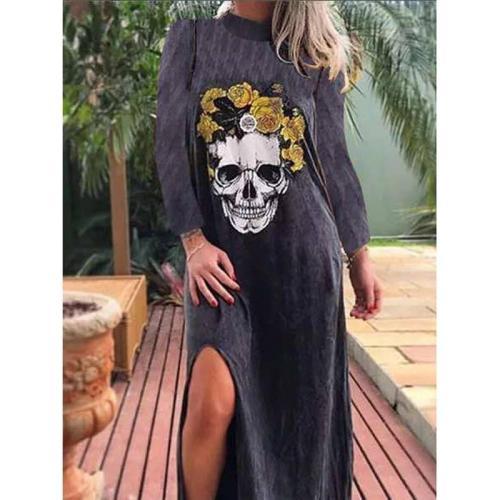 Punk Style Loose Halter Neck Sleeveless Skull Print Female Shirt Dress Street High Split Side Long Casual Dress