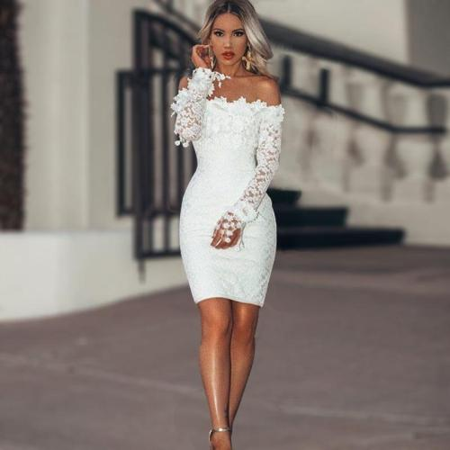 New Sexy lace Hook flower evening dress Hollow out Slim fit evening gown elegant formal dress party dresses abiye gece elbisesi