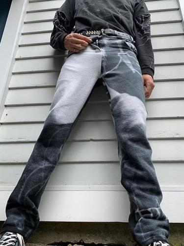 Grey-white gradient casual mens pants TT010