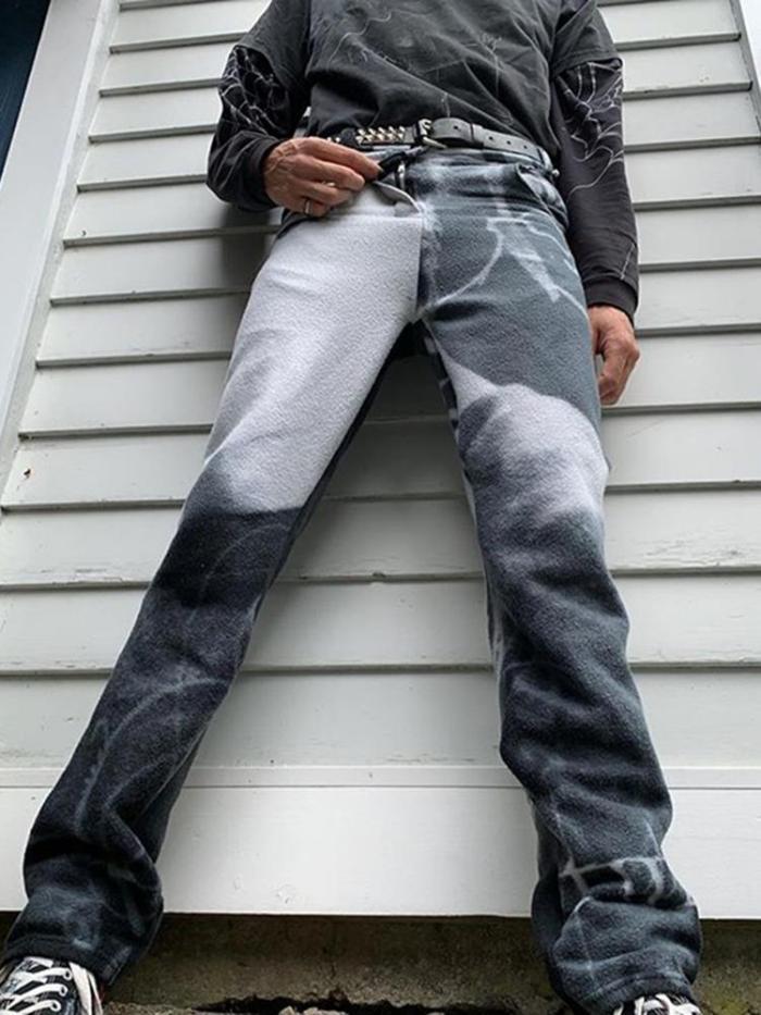 Grey-white gradient casual mens pants TT010