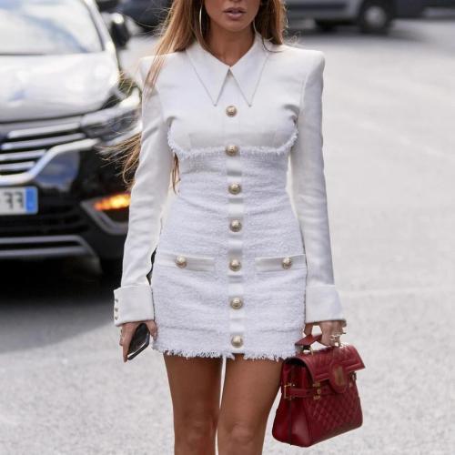 Tweed stitching button closure tight dress