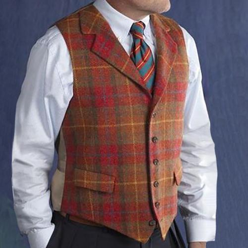 Flashmay Men'S Leisure Single Row Buckle Plaid Vest