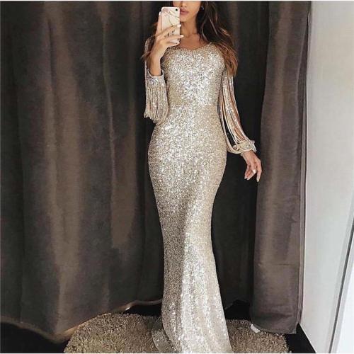 Long Sleeve Tassel Evening Dress