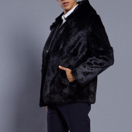 Faux Fur Zipper Autumn And Winter Men's Jacket