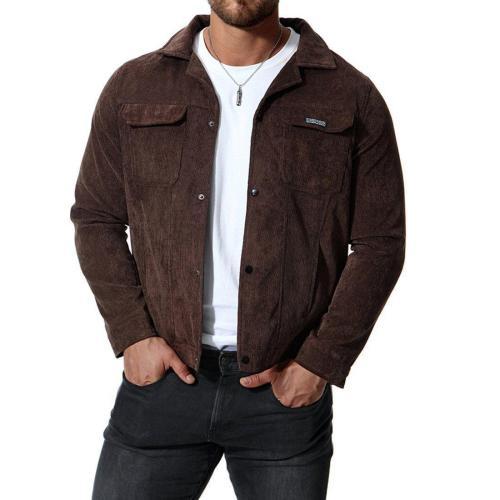 Fashion Plain Corduroy Packets Button Jacket