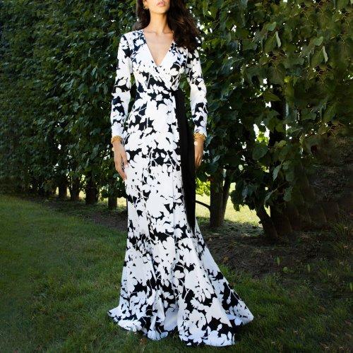 Elegant V-neck print long sleeve high waist dress
