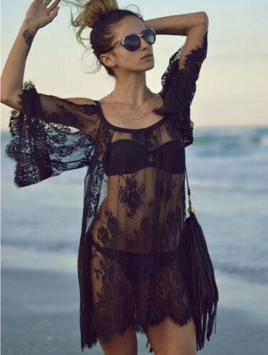 Women Saida De Praia Bathing Suit Lace Crochet Bikini Swimwear Cover Up Casual Beach Dress Vestido Loose Hollow Shoulder Dresses